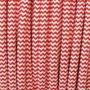 Cable textil redondo 2x0,75mm, 1m, rojo-blanco